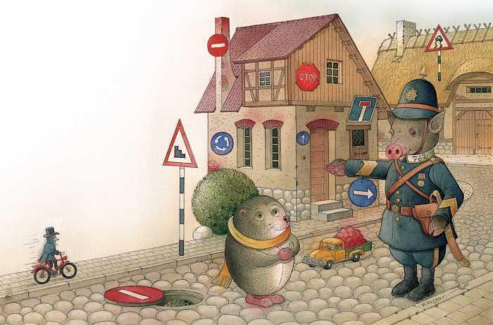 The Right-hand Hedgehog Painting by Kestutis Kasparavicius