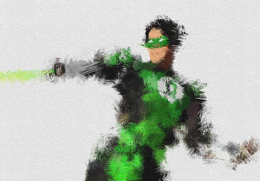 Green Lantern Painting - The Ring Keeper by Miranda Sether