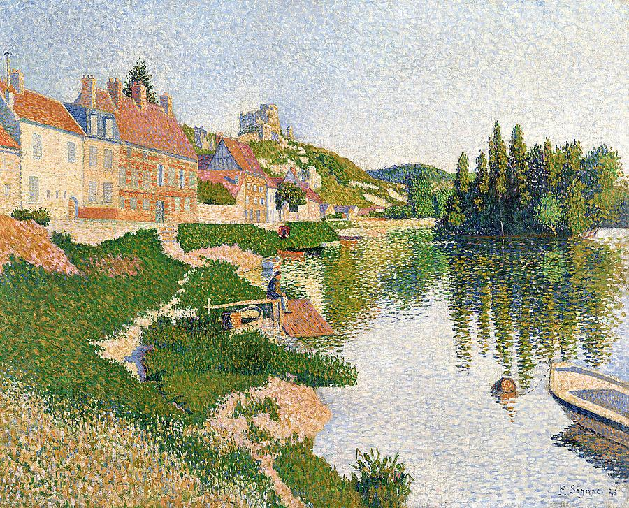 The Painting - The River Bank by Paul Signac