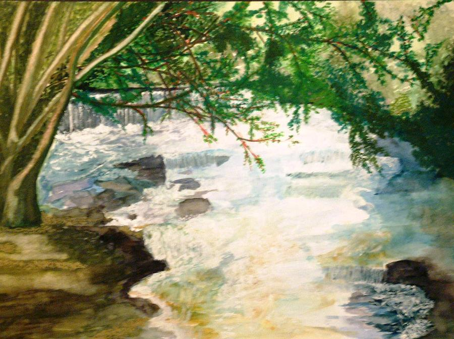 Watercolour Painting - The River Taff by Andrew Davies