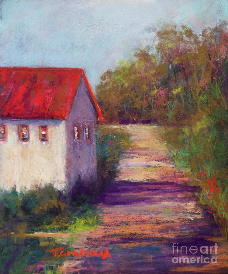 Cabin Pastel - The Road Behind by Joyce A Guariglia