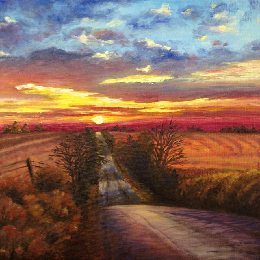 Kansas Painting - The Road Home by Rod Seel