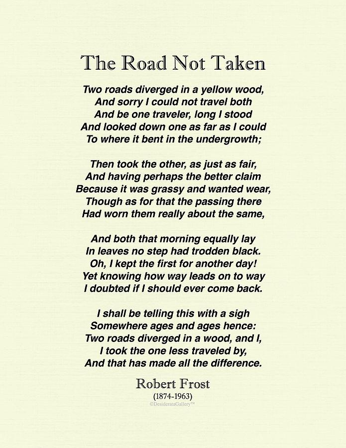 The Road Not Taken By Robert Frost Linen Finished Drawing