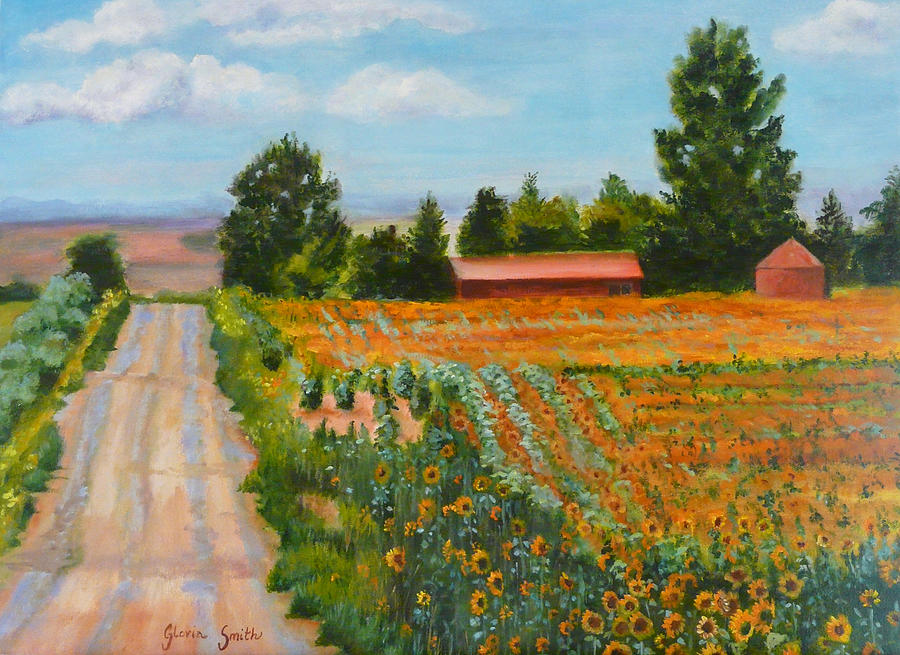 Sunflowers Painting - The Road To Happiness by Gloria Smith