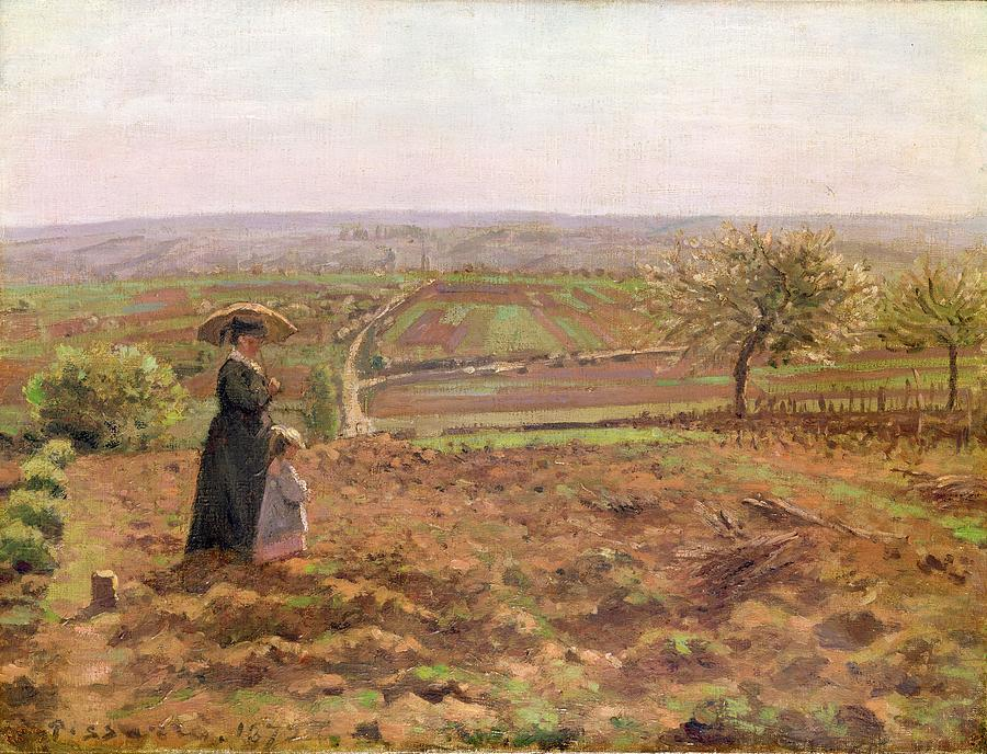 The Painting - The Road To Rouen by Camille Pissarro