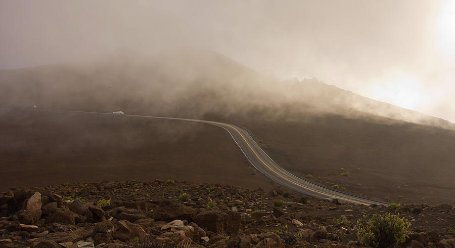 Adventure Photograph - The Road to the Top of Maui Haleakala Volcano by Denis Dore