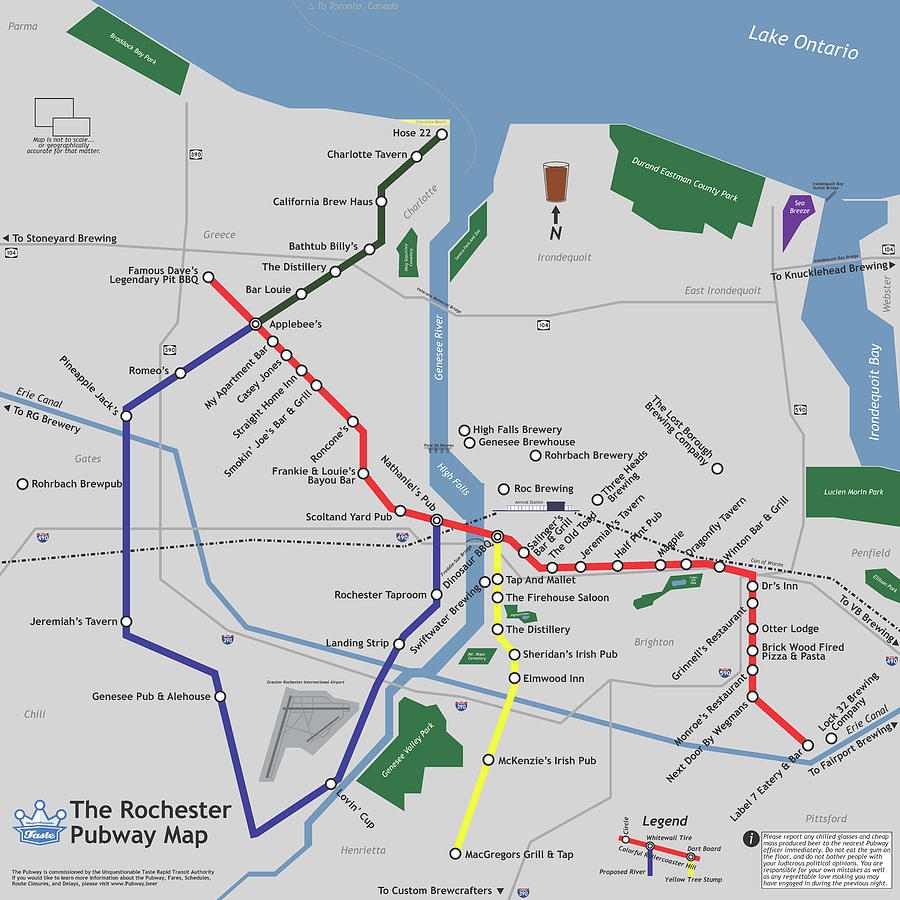 Beer Digital Art - The Rochester Pubway Map by Unquestionable Taste