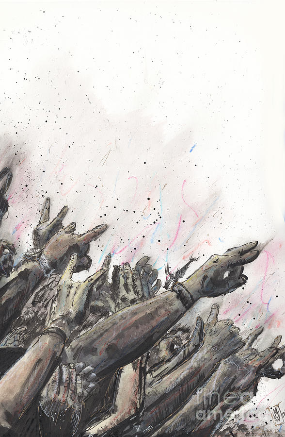 Mosh Pit Drawing - The Rock Show by Michael Wehner