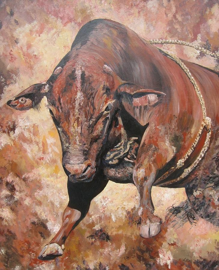 Bull Painting - The Rodeo Bull by Leonie Bell