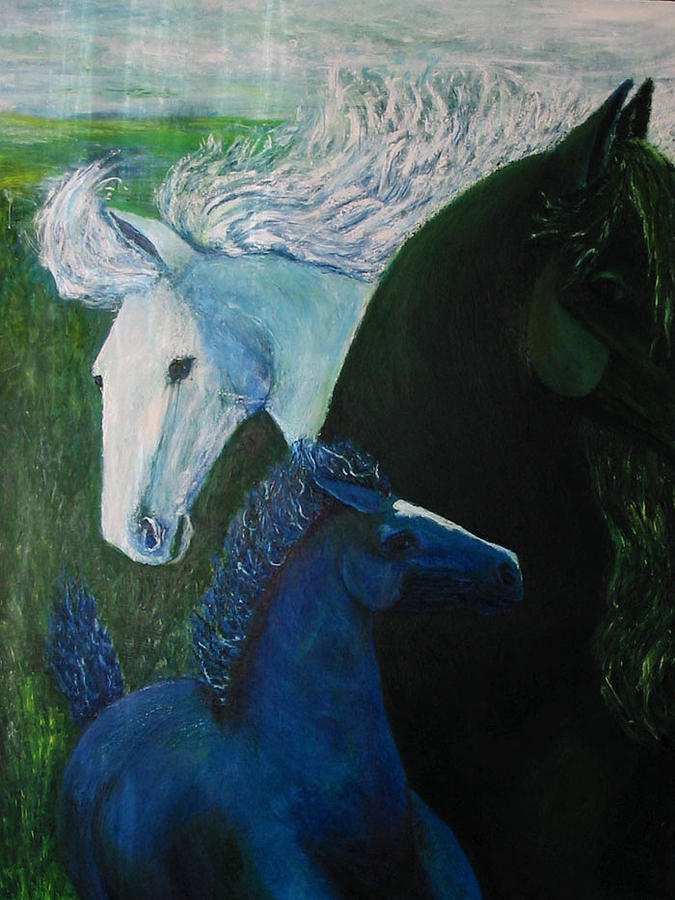 Horse Painting - The Romp by Patricia Obletz