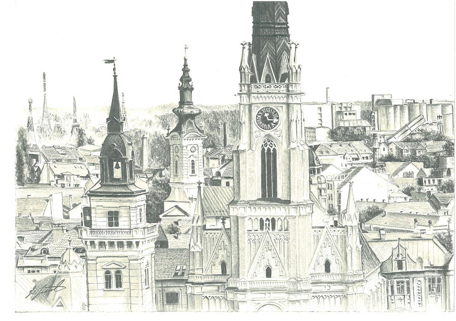 Pencil Drawing - The Roofs Of Novi Sad by Dragoslav Cupic