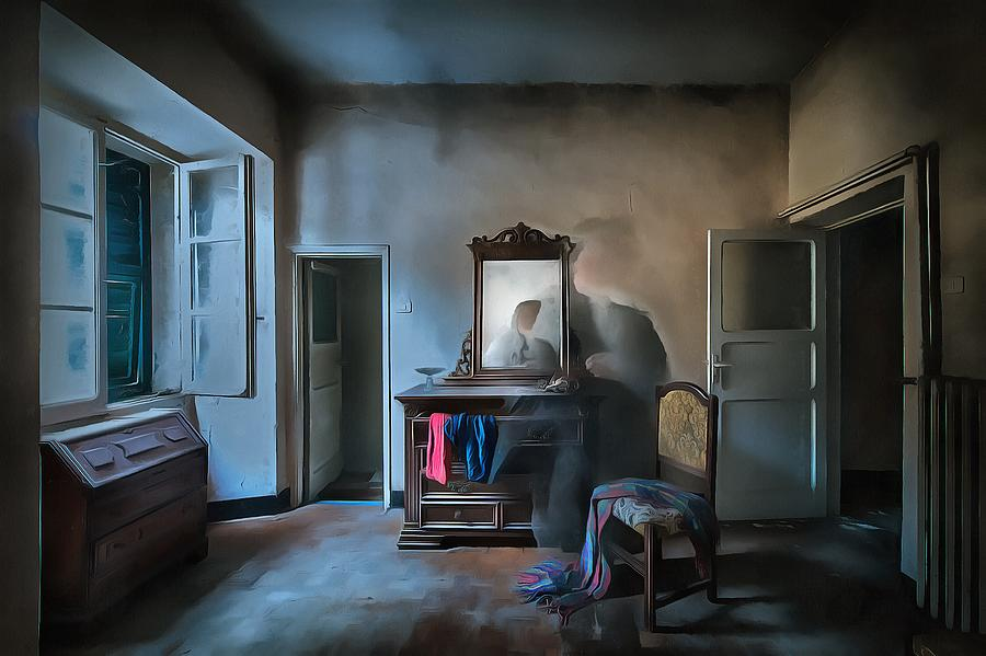 Castello Photograph - The Room Of The Castle Of The Phantom Of The Mirror Paint by Enrico Pelos