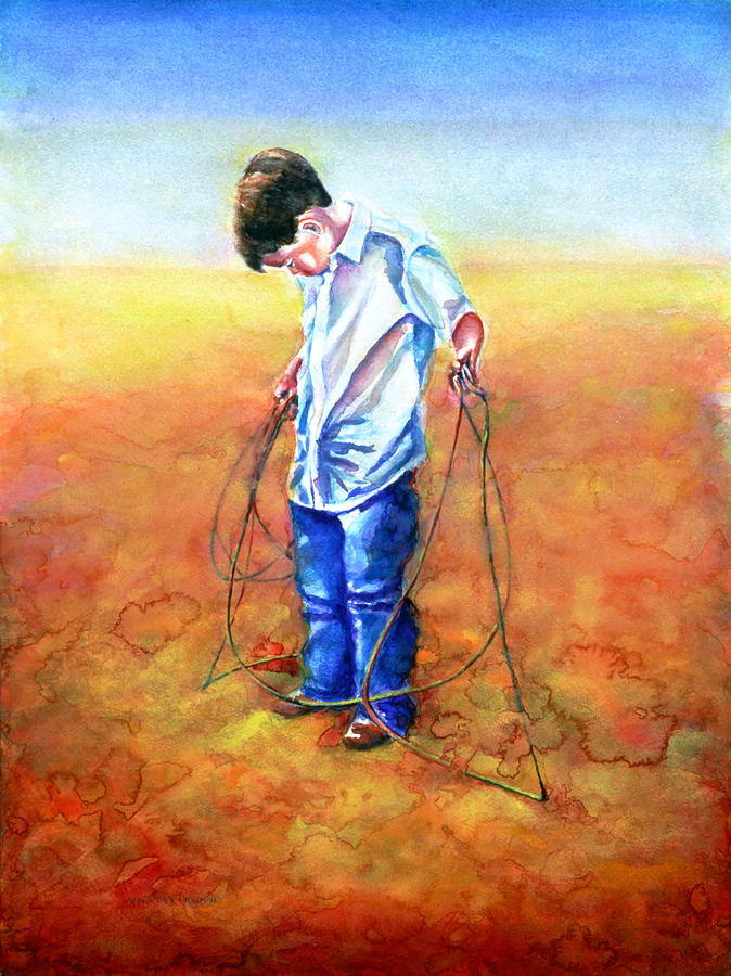 Child Painting - The Roping Lesson by Shannon Grissom