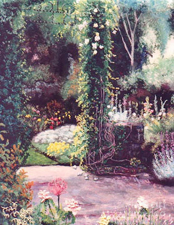 Garden Painting - The Rose Covered Column by Cynthia Sorensen