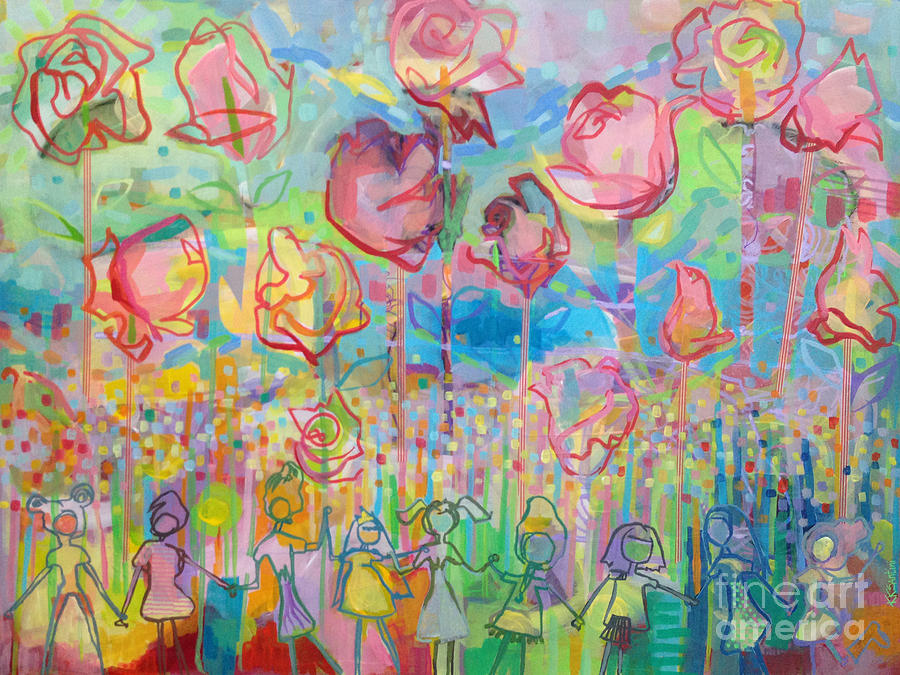 Garden Painting - The Rose Garden, Love Wins by Kimberly Santini