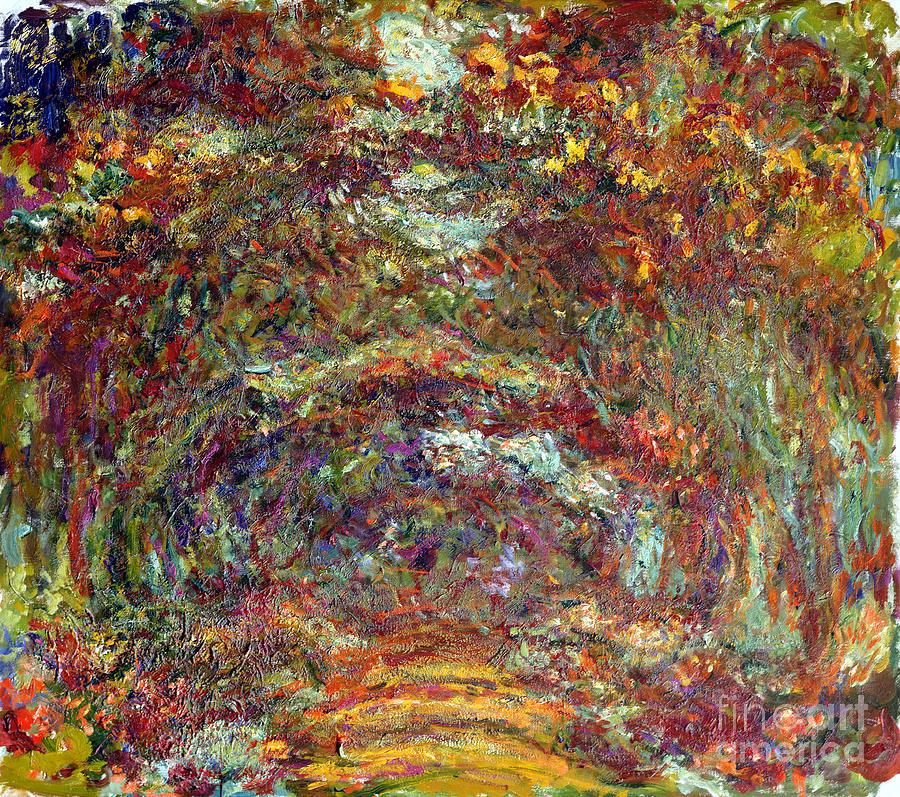 The Painting - The Rose Path Giverny by Claude Monet