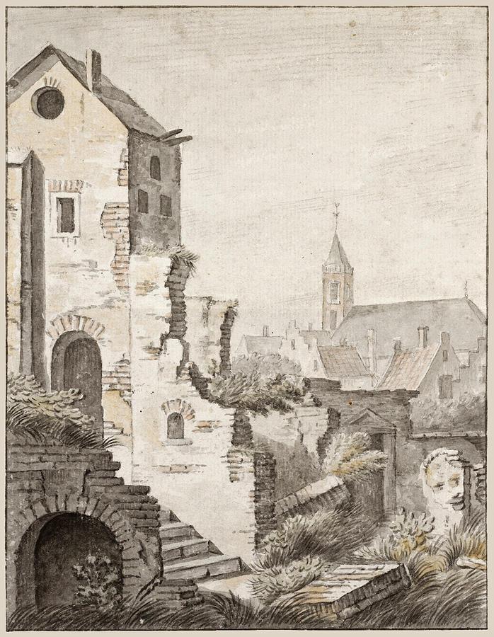 Herman Saftleven Drawing - The Ruins Of Utrecht by Herman Saftleven