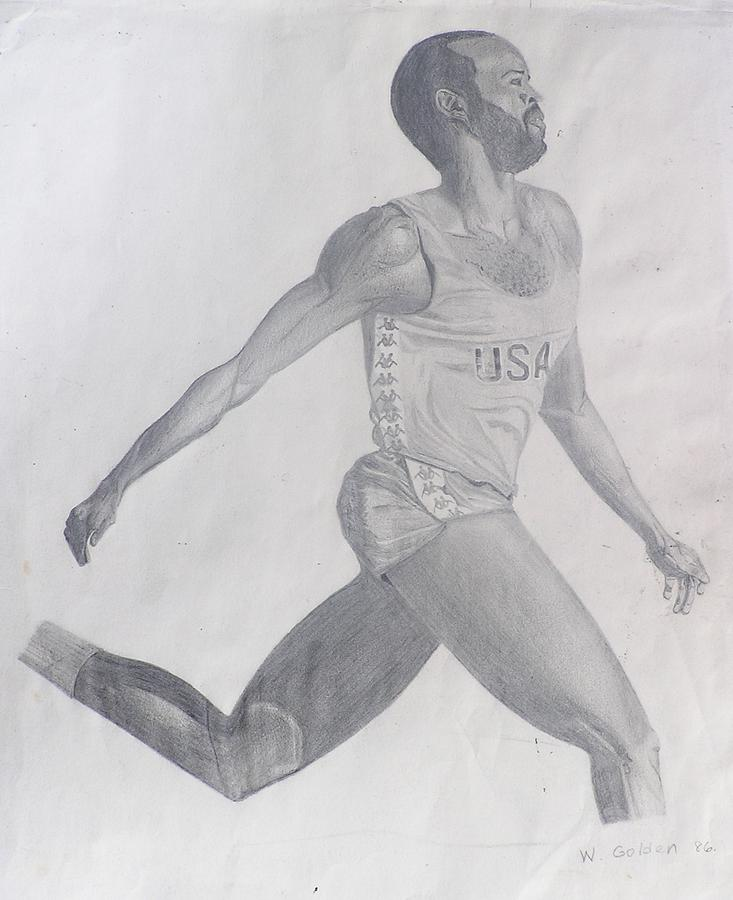 Pencil Drawing Drawing - The Runner by Wil Golden