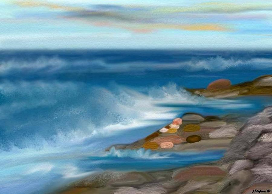 The Rush Of The Water Painting by Sher Magins