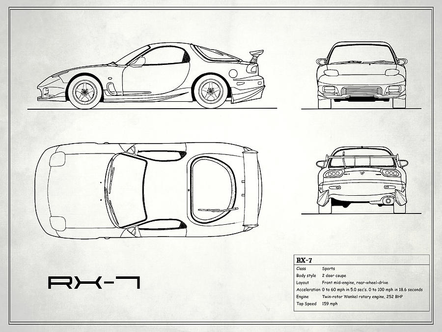 The rx 7 blueprint white photograph by mark rogan mazda rx 7 photograph the rx 7 blueprint white by mark rogan malvernweather Gallery