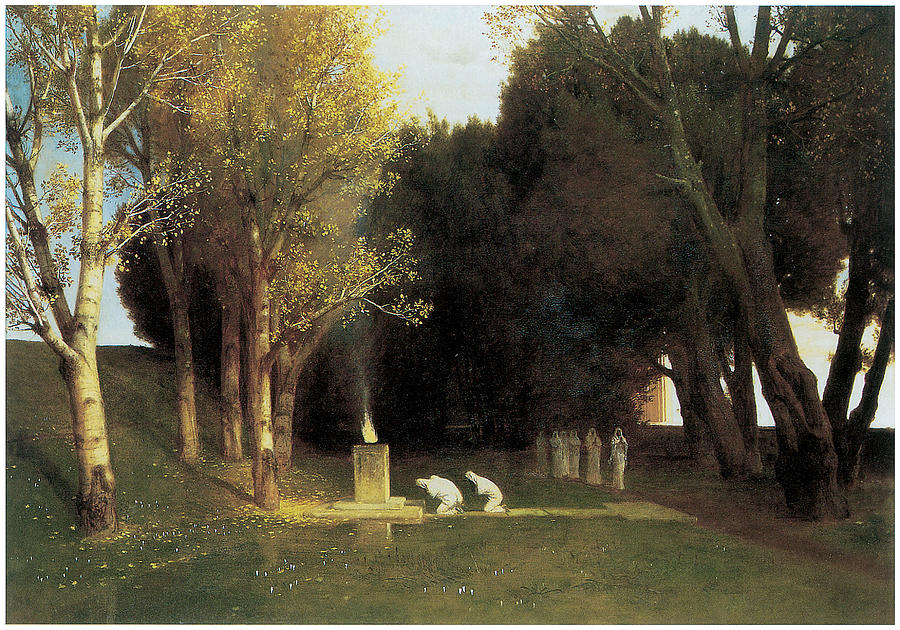 The Sacred Wood Painting By Arnold Bocklin