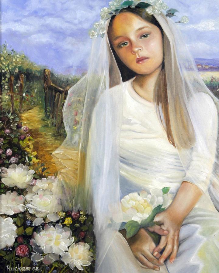 Flower Girl Painting - The Sad Flower Girl by Mary  Rucker