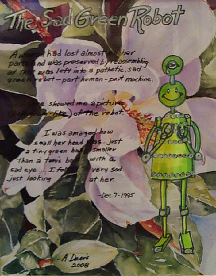 Robot Mixed Media - The Sad Green Robot by Albie Davis