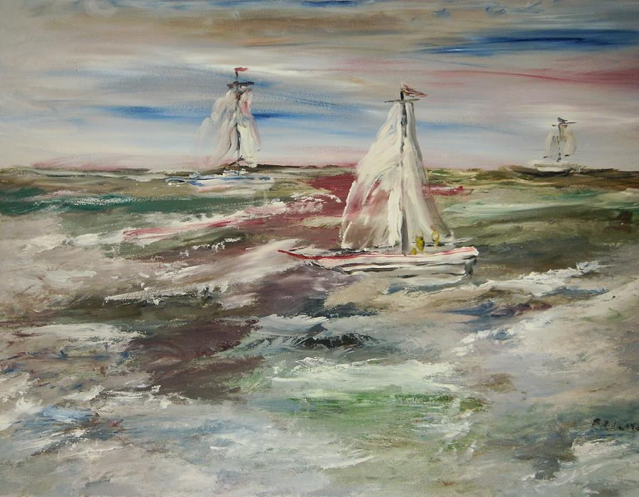 Seascape Painting - The Sailboat Race by Edward Wolverton