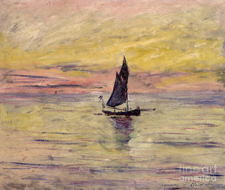 French Painting - The Sailing Boat Evening Effect by Claude Monet