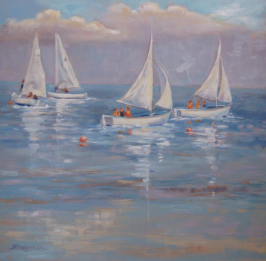 Sailing Painting - The Sailing Lesson by Barbara Hageman