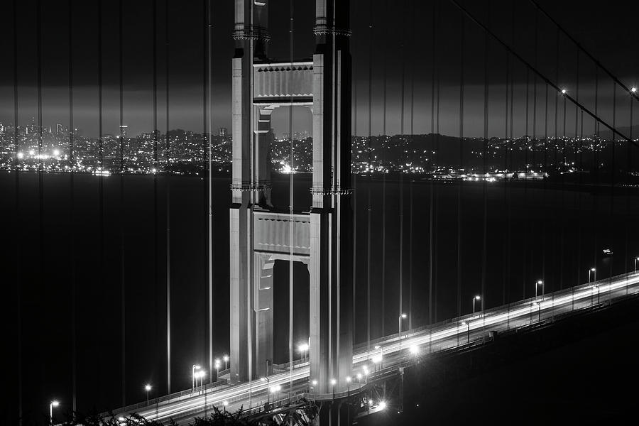The San Francisco Skyline Through The Golden Gate Bridge Black And White