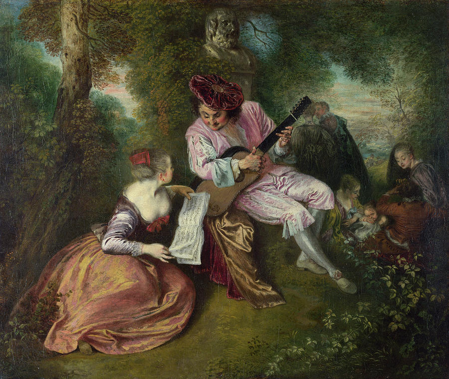 Antoine Watteau Painting - The Scale Of Love by Jean-Antoine Watteau