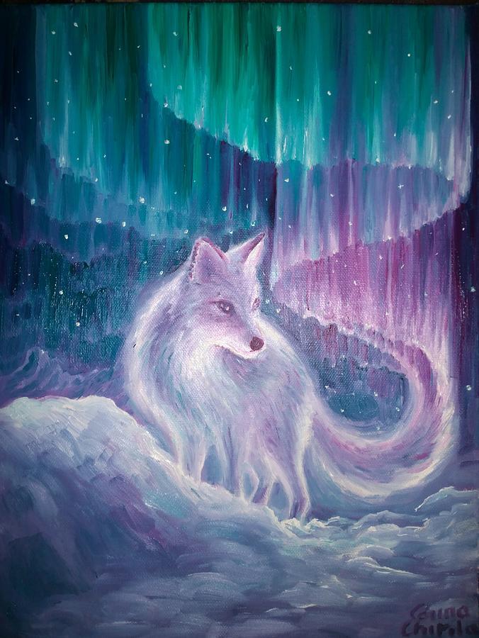 Aurora Borealis Painting - The scandinavian legend of aurora borealis by Chirila Corina