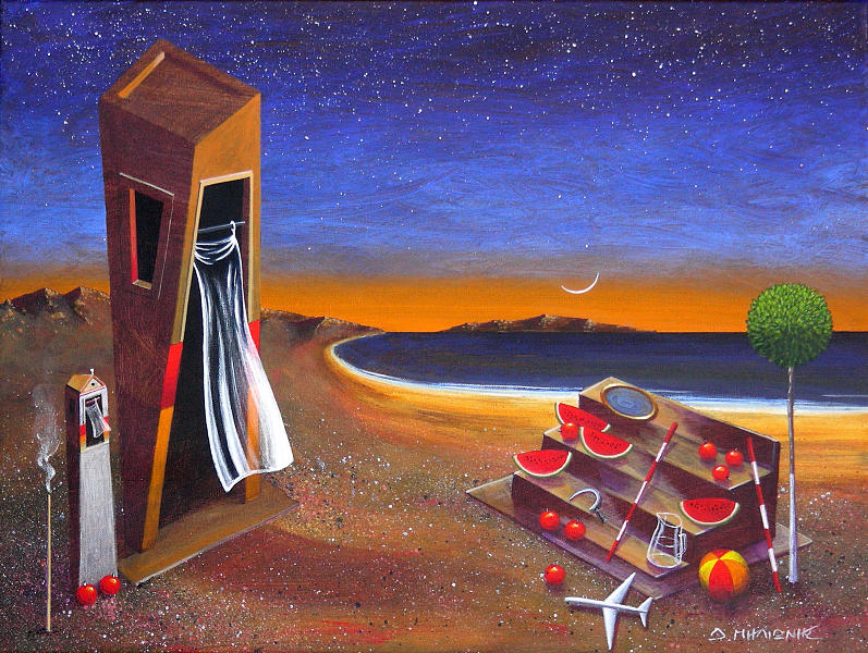Landscape Painting - The School Of Metaphysical Thought by Dimitris Milionis