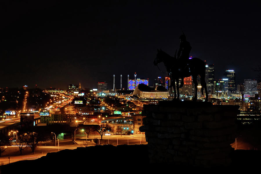The Scout and Kansas City's Downtown Skyline by Alan Hutchins