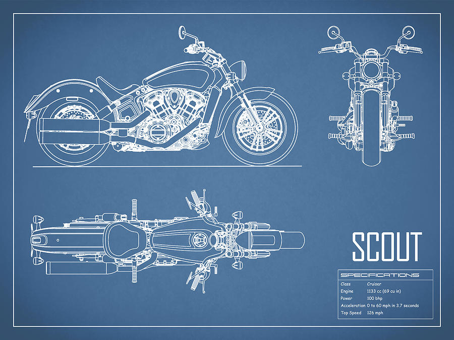 The scout motorcycle blueprint photograph by mark rogan motorcycle photograph the scout motorcycle blueprint by mark rogan malvernweather Image collections