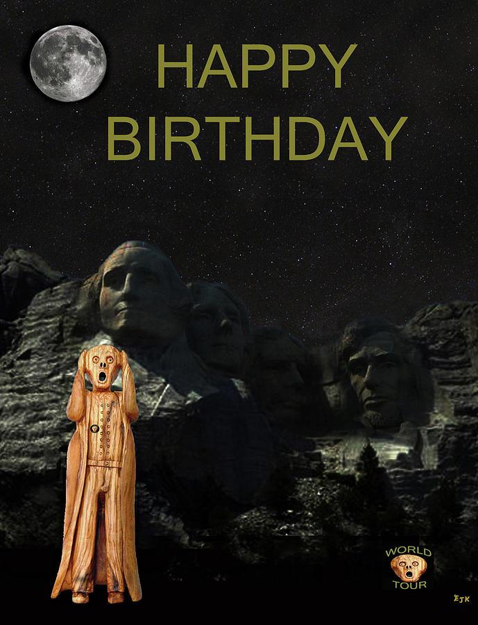 Mount Rushmore Painting - The Scream World Tour Mount Rushmore Happy Birthday by Eric Kempson