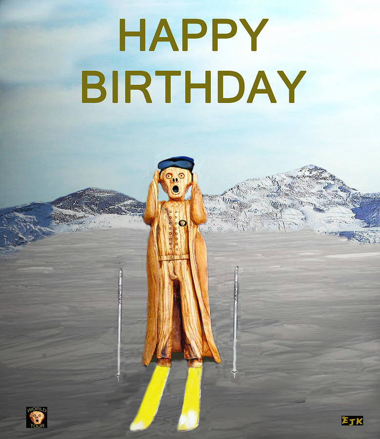 Skiing Mixed Media - The Scream World Tour Skiing Happy Birthday by Eric Kempson
