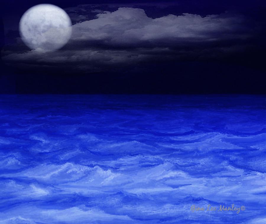 Sea Digital Art - The Sea At Night by Gina Lee Manley