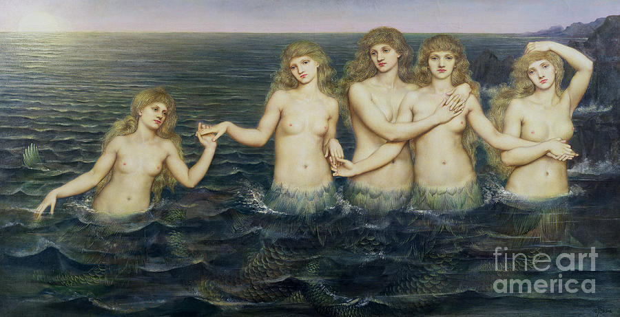 Sea Painting - The Sea Maidens by Evelyn De Morgan