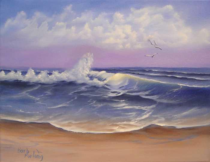 Seascape Painting - The Sea Seascape Oil Painting by Barbara Furlong