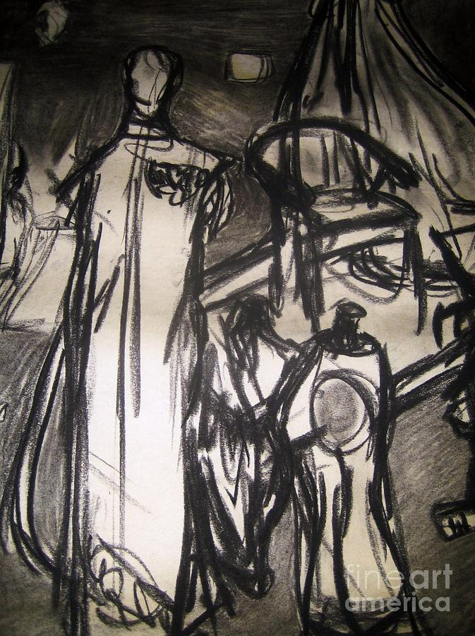 Sketch Drawing - The Seamstress by Reb Frost