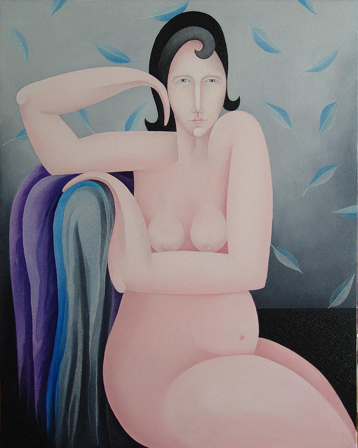 Sacha Circulism Painting - The Seated Pink Nude  2009 by S A C H A -  Circulism Technique