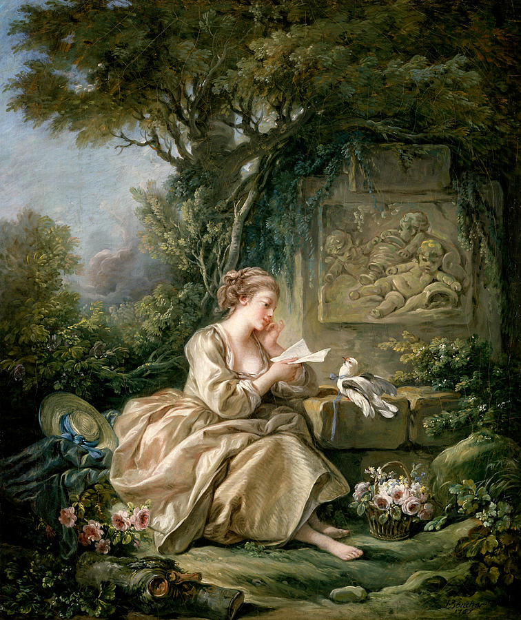 French Artist Painting - The Secret Message by Francois Boucher
