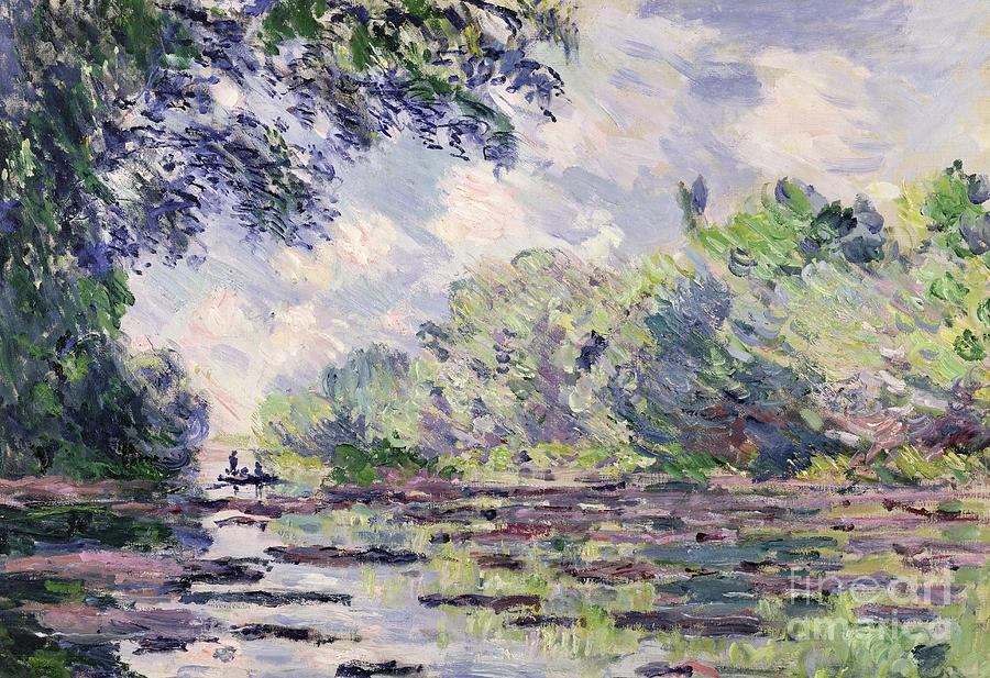 French Painting - The Seine At Giverny by Claude Monet