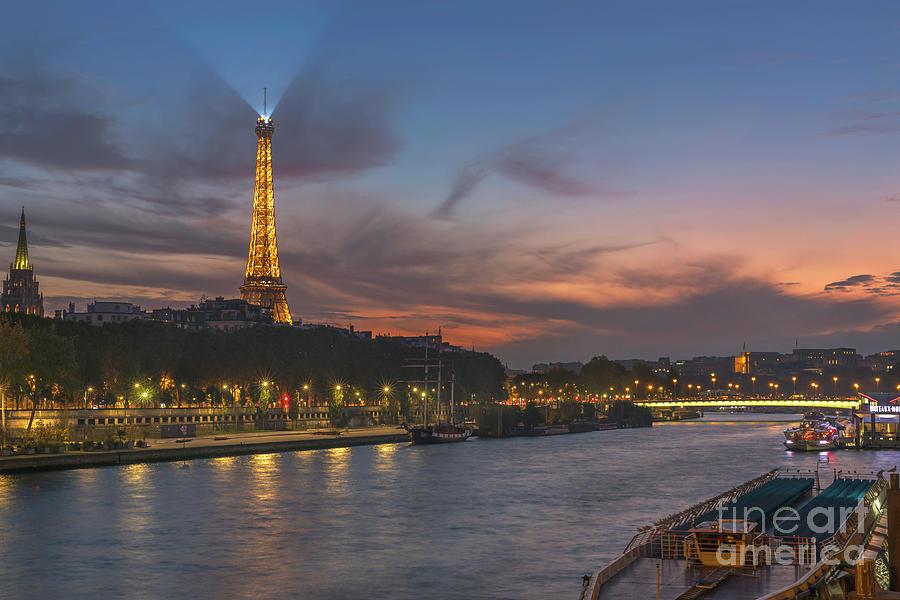 Paris Photograph - The Seine Evening by Lumiere De Liesse Ltd Images of Robert L Lease