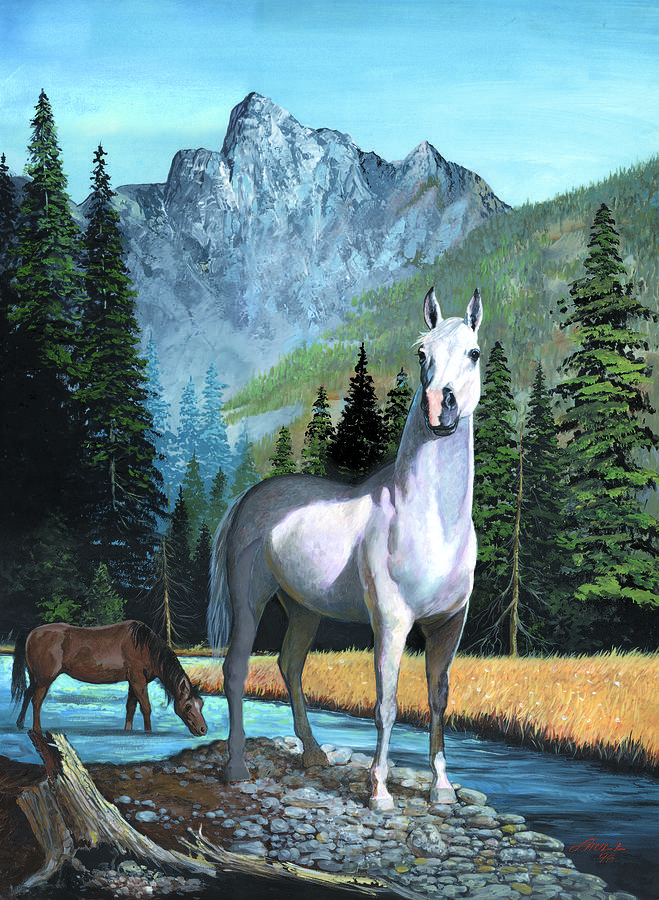 Horse Painting - The Sentinel by Harold Shull