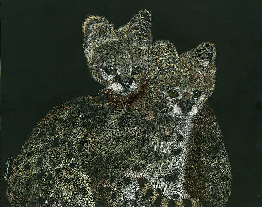 Serval Mixed Media - The Serval Twins by Jessica Kale