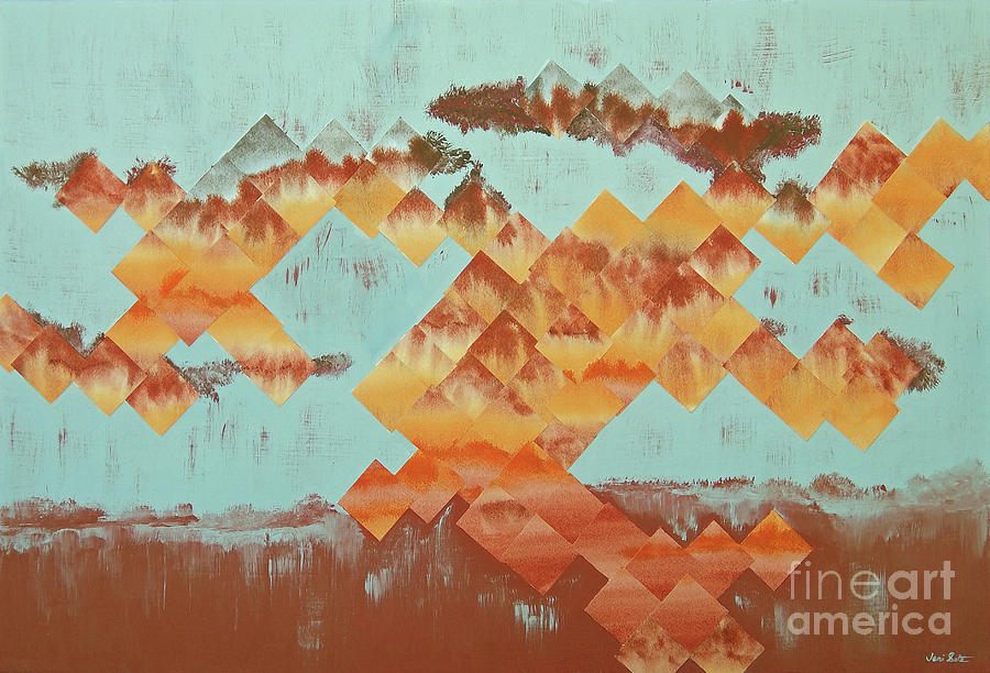 Acrylic Mixed Media - The Setting Sun by Jeni Bate