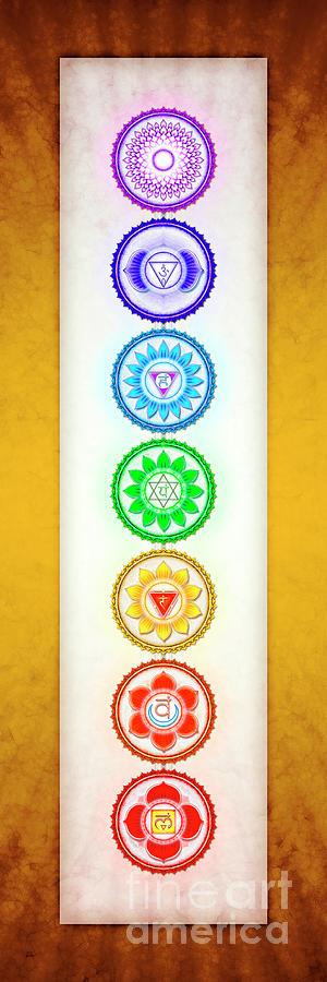 Chakra Digital Art - The Seven Chakras - Series 6 Golden Yellow by Dirk Czarnota